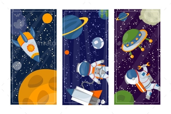 Space Science Man in Universe Galaxy Banner - Miscellaneous Vectors