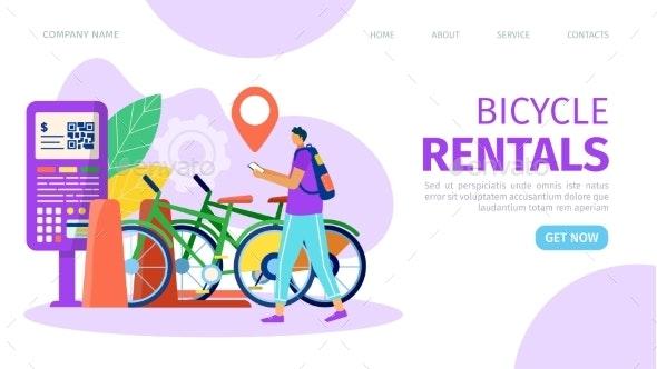 Bicycle Rental Flat Service Cartoon Bike - Sports/Activity Conceptual