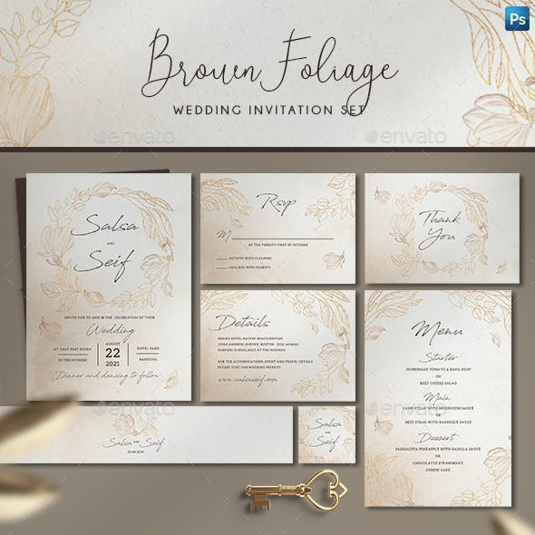 Brown Foliage Wedding Invitation Set