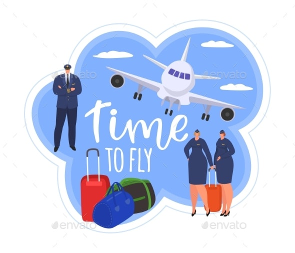 Travel at Plane People in Journey Concept Vector - Travel Conceptual