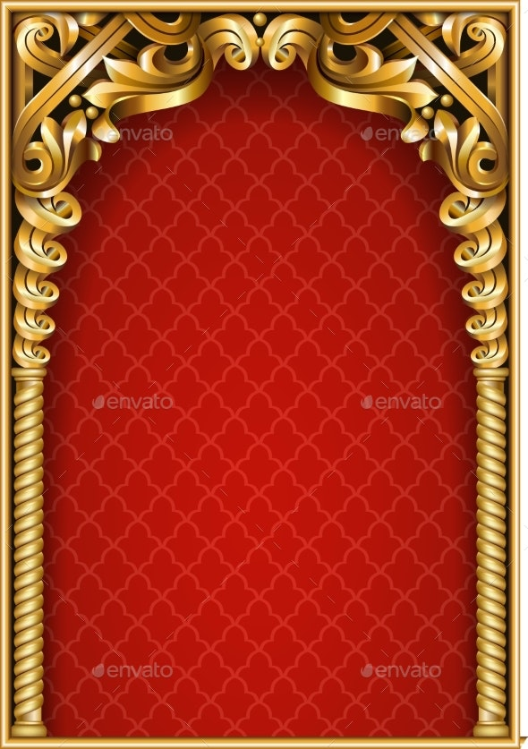 Gold Classic Frame of the Rococo Baroque - Backgrounds Decorative