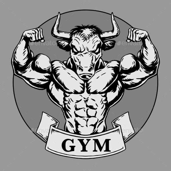 Bodybuilder Muscle Bull Strong - Sports/Activity Conceptual
