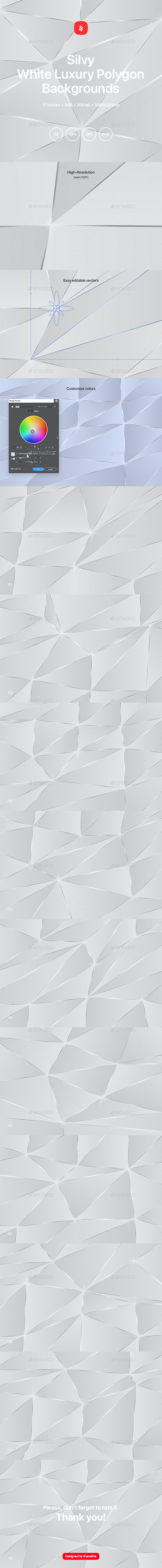 Silvy - White Luxury Polygon Backgrounds - Abstract Backgrounds