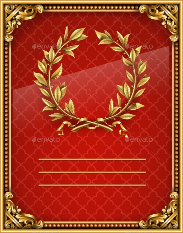 Blank or Label Gold Baroque Red Background - Backgrounds Decorative