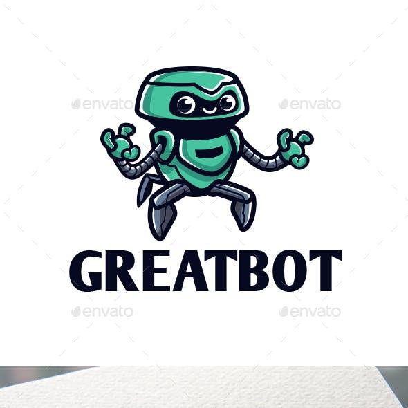 Cartoon Great Robot Character Mascot Logo