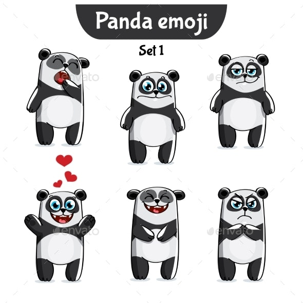 Vector Set of Panda Characters - Animals Characters