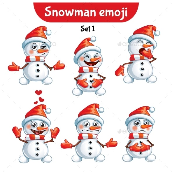 Vector Set of Snowman Characters - Miscellaneous Characters