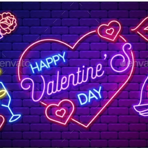 Neon Valentines Day Card or Poster Vector Banner