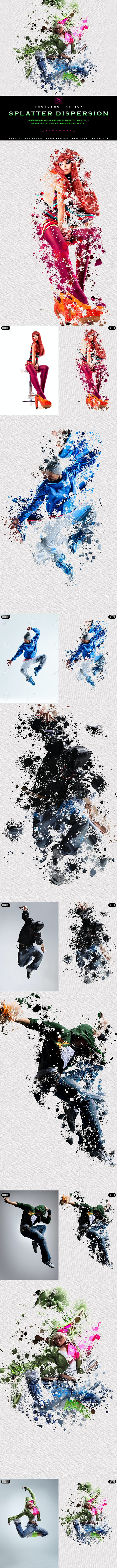 Splatter Dispersion - Photoshop Action - Photo Effects Actions