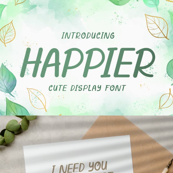 Happier - Cute Display Font