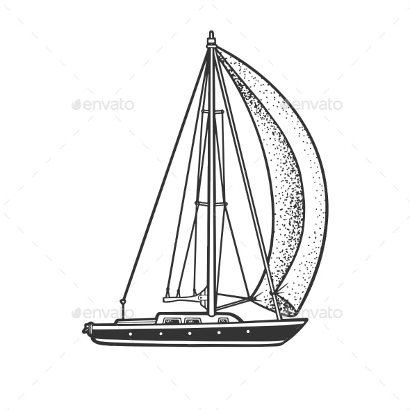 Single Sail Yacht Boat Sketch Vector Illustration - Man-made Objects Objects