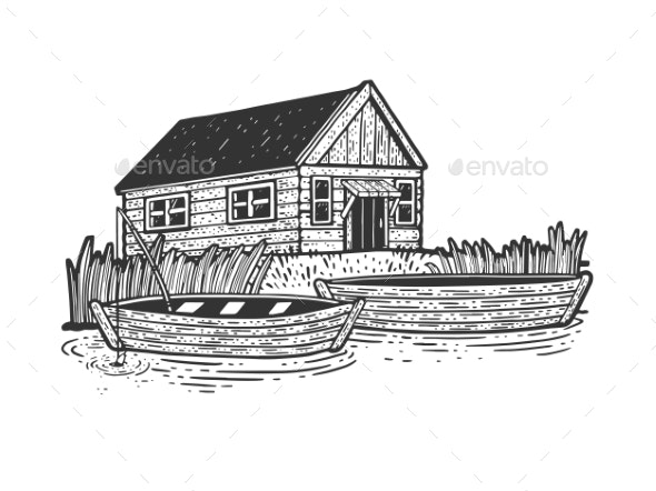 Fishing Lodge and Boats Sketch Vector Illustration - Buildings Objects