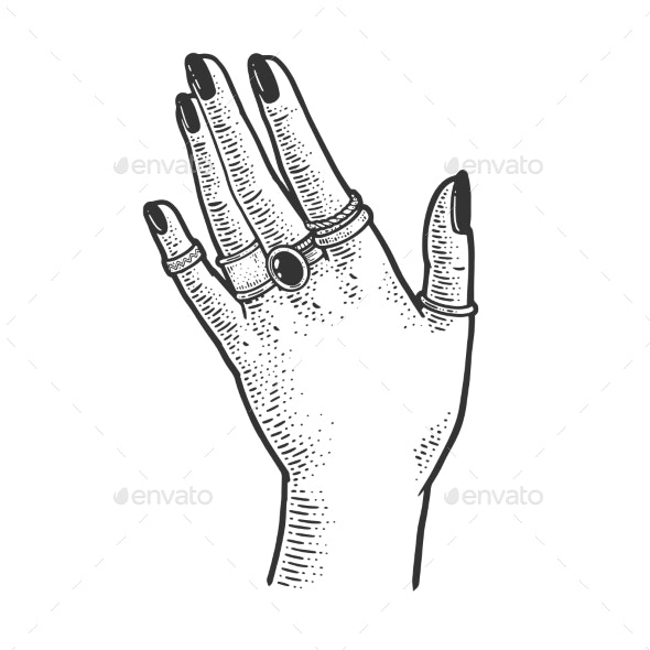 Hand and Precious Rings Sketch Vector Illustration - Miscellaneous Vectors