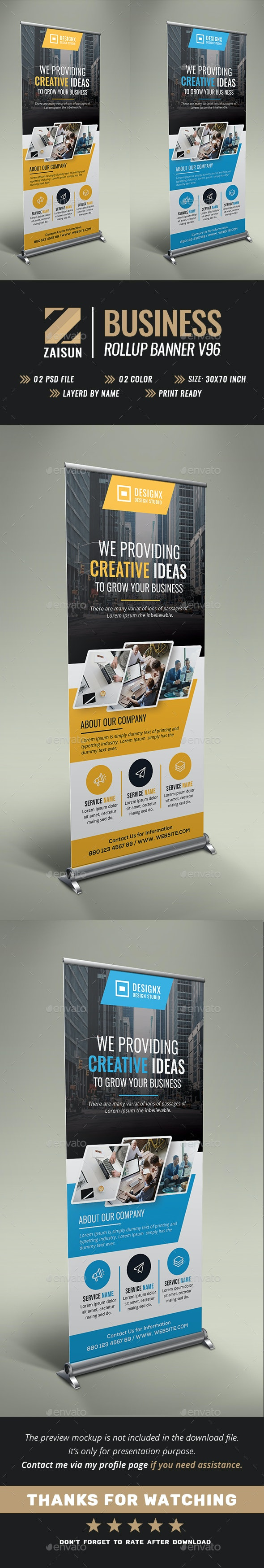 Business Roll Up Banner V96 - Signage Print Templates