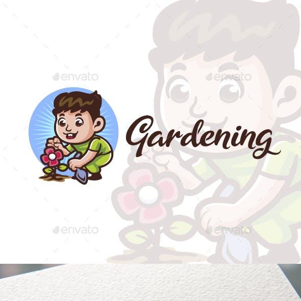 Cartoon Gardening Boy Character Mascot Logo