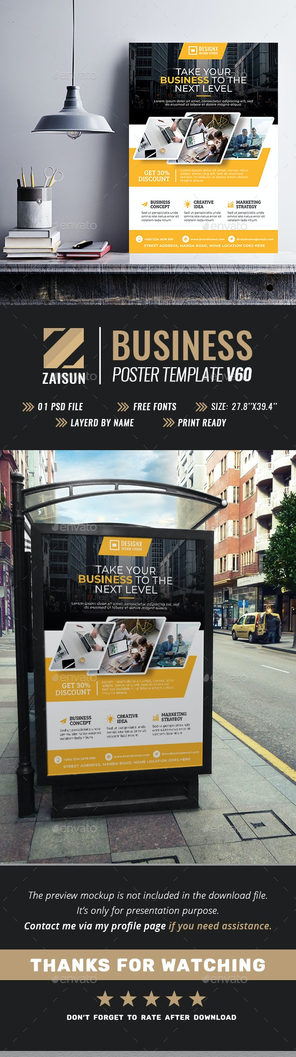 Business Poster Template V60 - Signage Print Templates