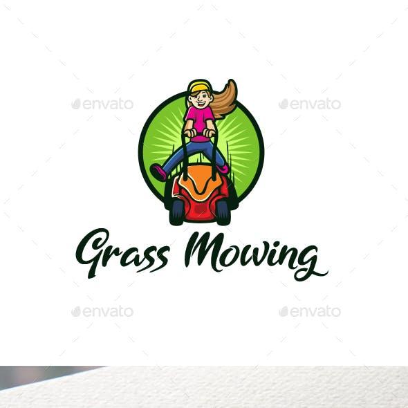 Cartoon Grass Mowing Character Mascot Logo