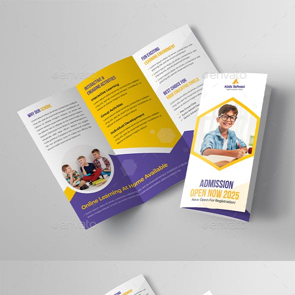 School Education Trifold Brochure Template