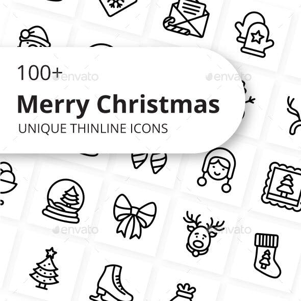 Merry Christmas Unique Outline Icons