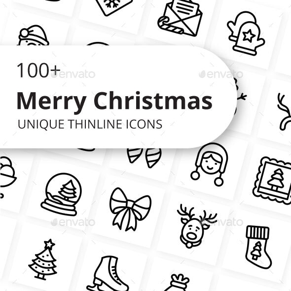 Merry Christmas Unique Outline Icons - Miscellaneous Icons