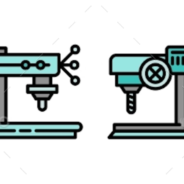 Drilling Machine Icons Set Outline Style