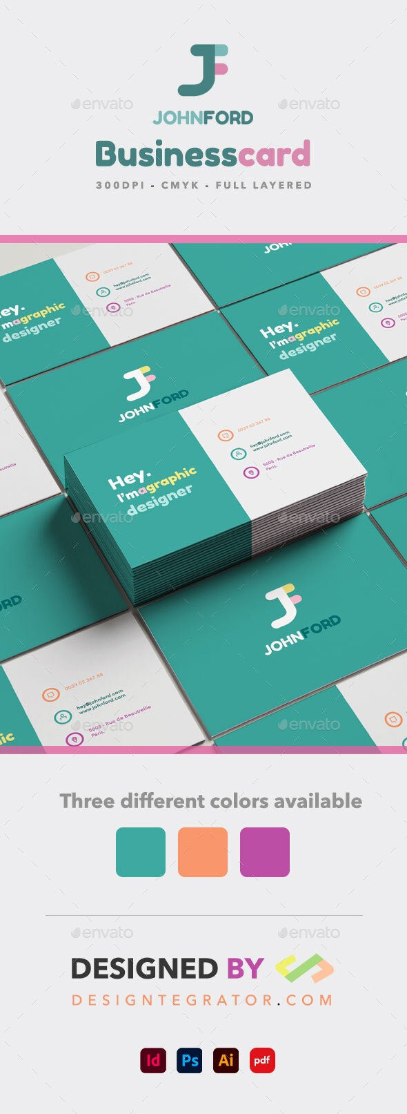 Colors Business Card - PSD - AI - INDD - PDF - Grunge Business Cards