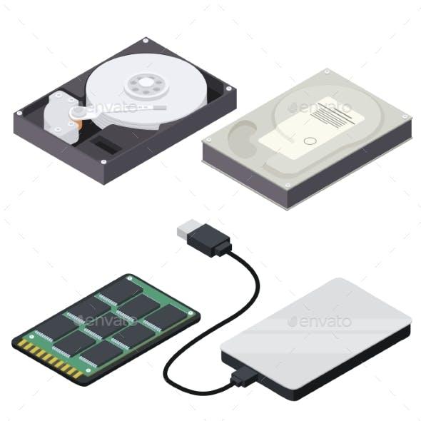 Hard Disk Icons Set Isometric Style