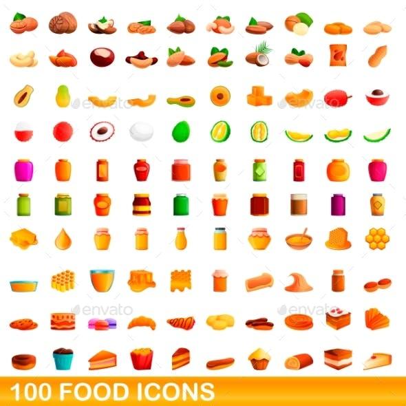 100 Food Icons Set Cartoon Style