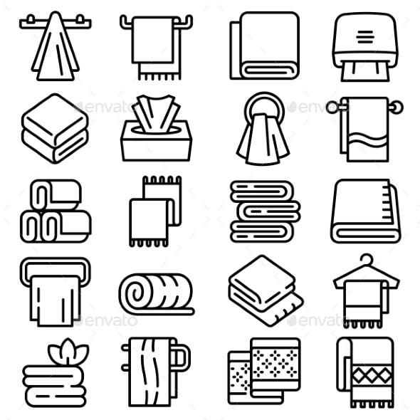 Towel Icons Set Outline Style