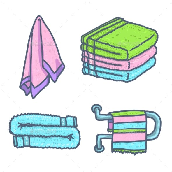 Towel Icons Set Hand Drawn Style