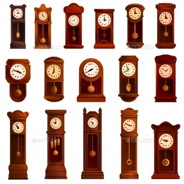 Pendulum Clock Icons Set Cartoon Style