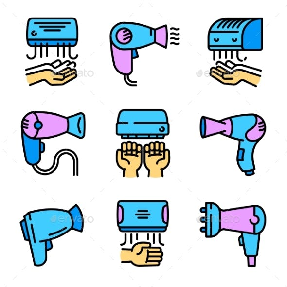 Dryer Icons Set Outline Style