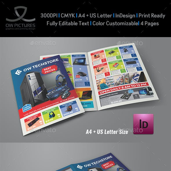 Computers and Electronics Products Catalog Bi-Fold Brochure Template