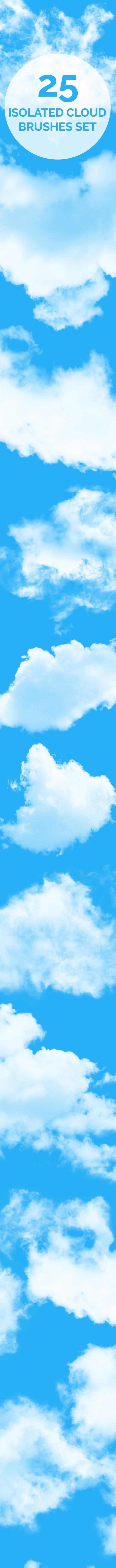 25 isolated cloud brushes - Brushes Photoshop