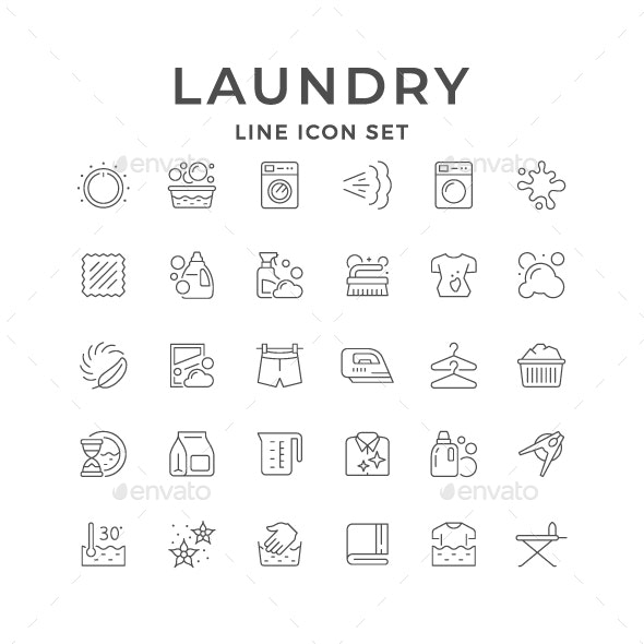 Set Line Icons of Laundry - Man-made objects Objects