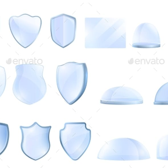 Protective Glass Icons Set Cartoon Style