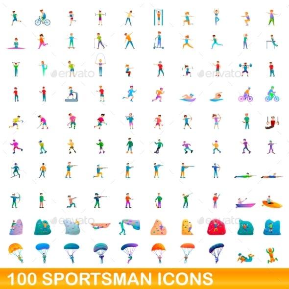 100 Sportsman Icons Set Cartoon Style