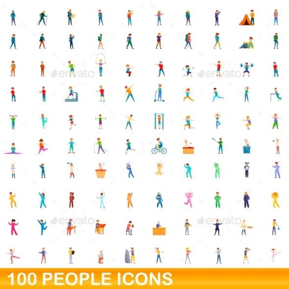 100 People Icons Set Cartoon Style