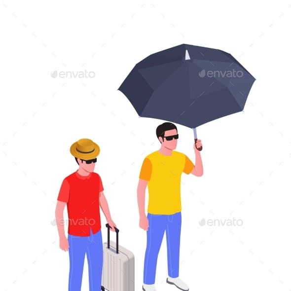People With Umbrella Vector Illustration
