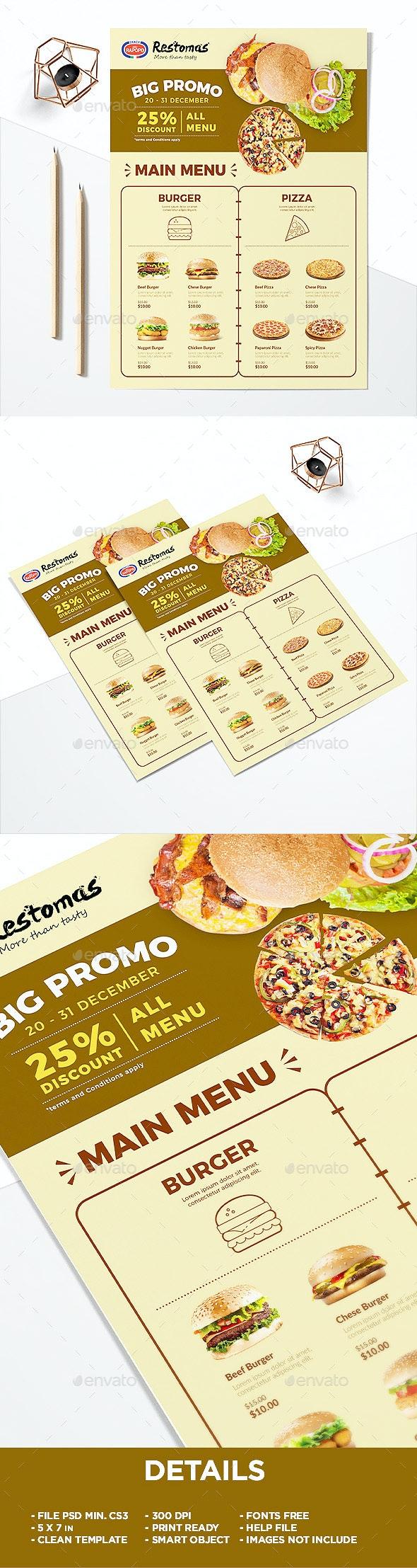 Minimalist Restaurant Menu - Food Menu Flyer - Restaurant Flyers