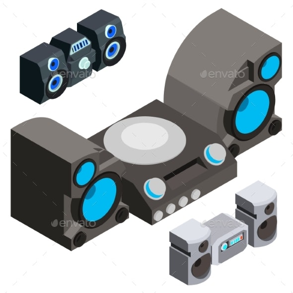 Stereo System Icons Set Isometric Style - Man-made Objects Objects