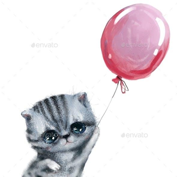 Cute Little Kitten Fly with Pink Balloon