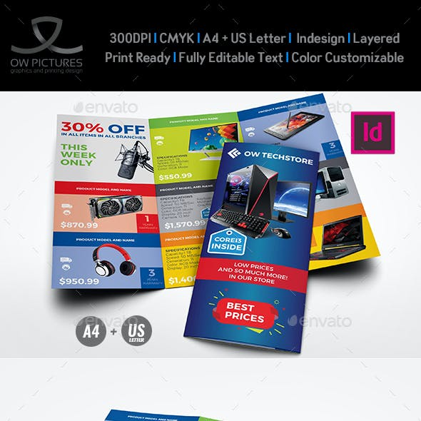 Computers and Electronics Products Catalog Tri - Fold Brochure Template