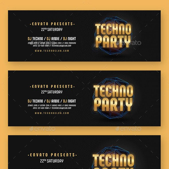 Techno Party Web Sliders