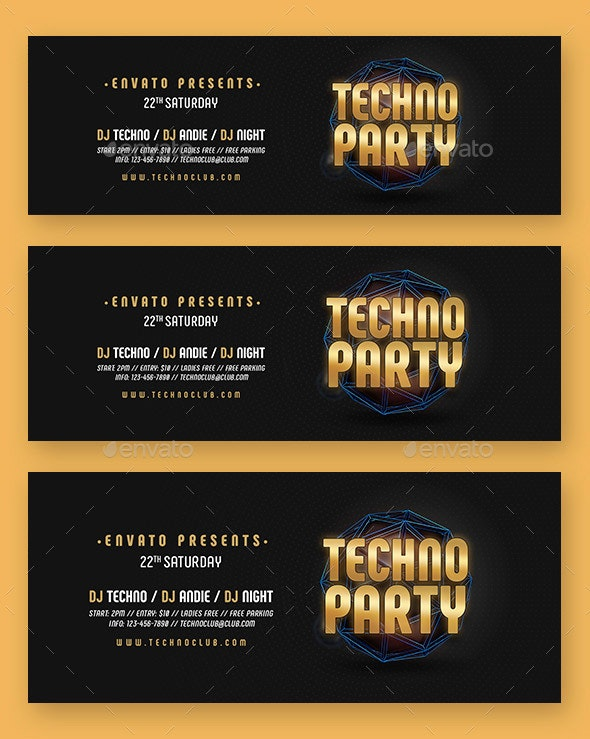 Techno Party Web Sliders - Sliders & Features Web Elements