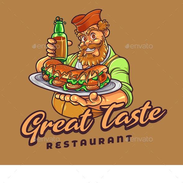 Hotdog Restaurant Mascot Logo