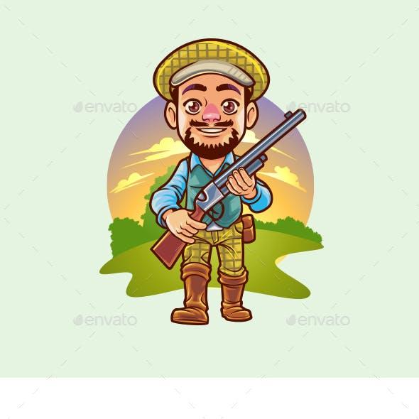 Cartoon Wild Hunter Character Mascot Logo