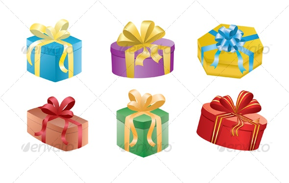 Vector Gift Boxes with Ribbons - Miscellaneous Characters