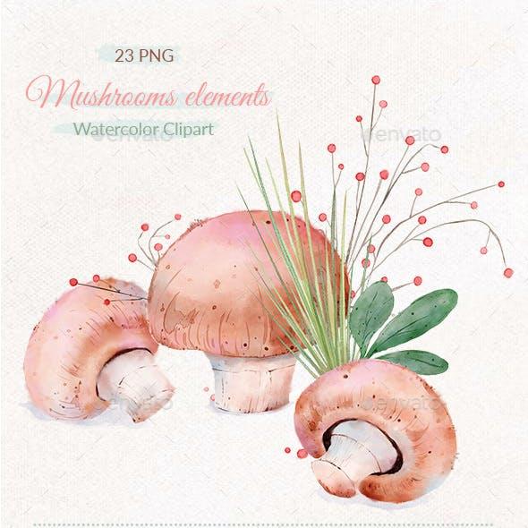 Mushrooms Digital Illustration Clipart PNG