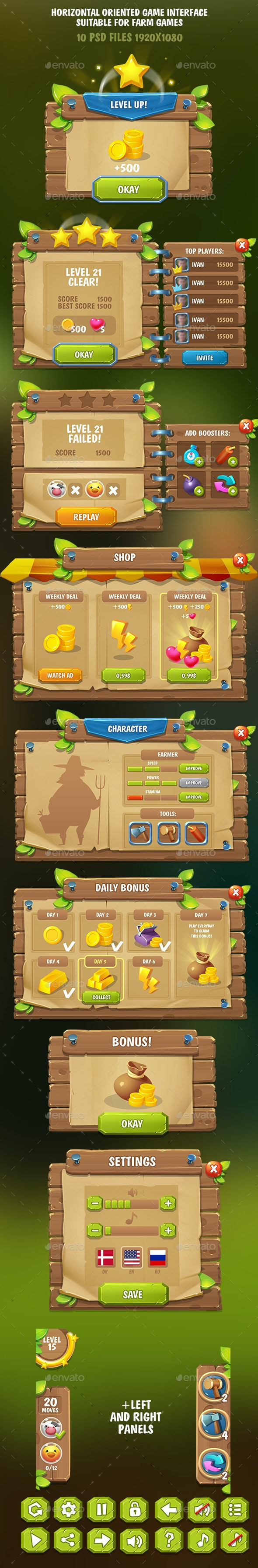 Horizontal Game Interface Suitable for Farm Games - User Interfaces Game Assets